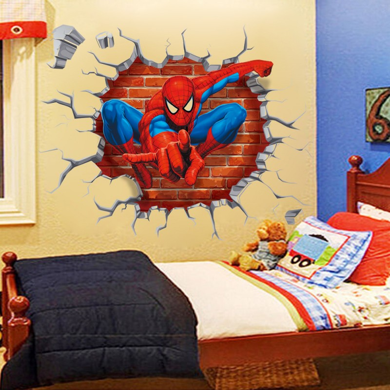 45*50cm hot 3d hole famous cartoon movie spiderman wall stickers for kids rooms boys gifts through decals home decor mural