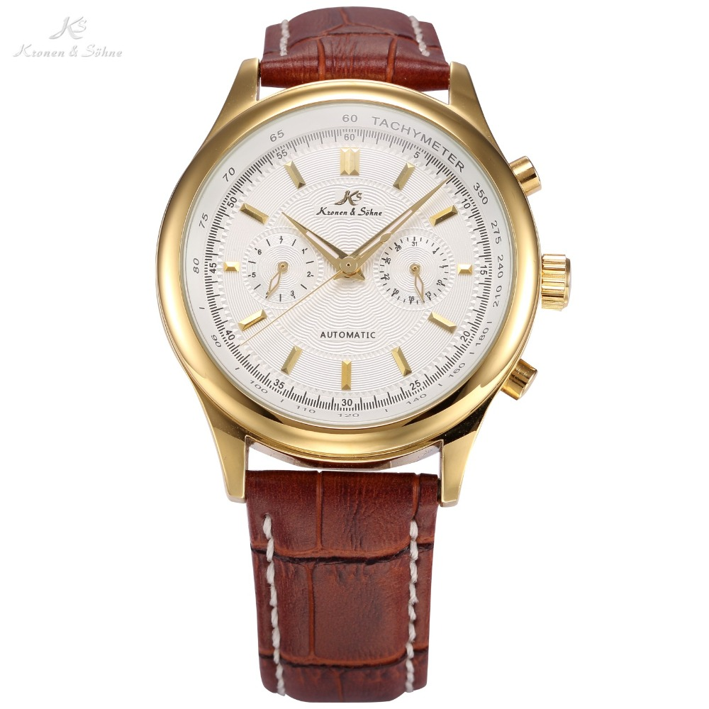 KS Imperial Series Auto Date Display Male Clock Leather Strap White Gold Wristwatch Automatic Mechanical Men Casual Watch /KS182 angie st7194 fearless series male auto mechanical watch
