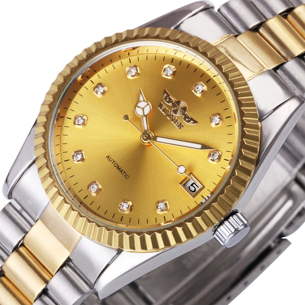2018 WINNER Automatic Mechanical Watch Men Wrist Watches Stainsless Steel Strap Calendar Day Top Luxury Brand Golden Case original binger mans automatic mechanical wrist watch date display watch self wind steel with gold wheel watches new luxury