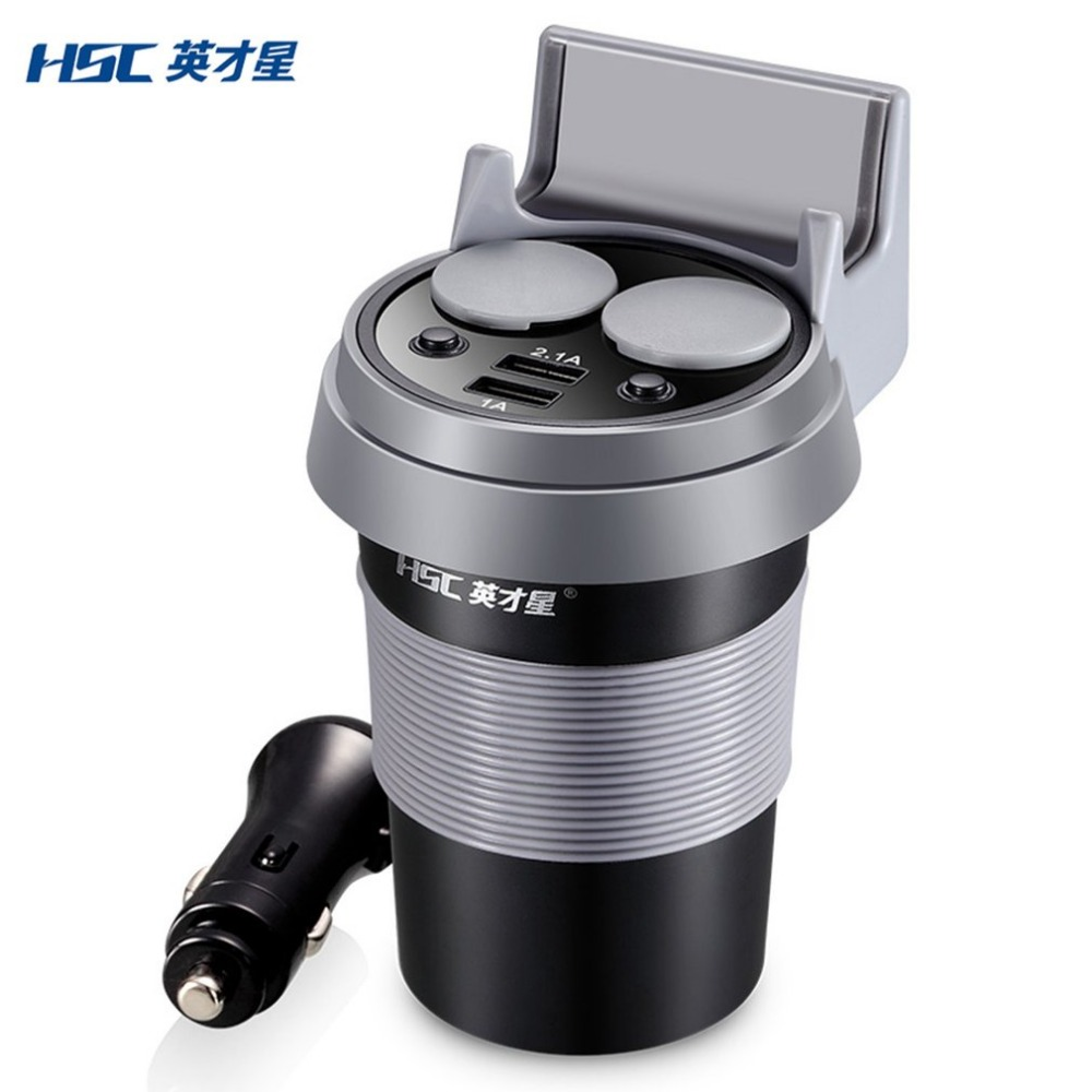 HSC New Car-Styling 12-24V 3.1A Output Dual USB Car Charger Car Coffee Cup Holder Dual Cigarette Lighter Sockets Power Adapter yi yi mini car cigarette lighter charger w dual usb white 12 24v