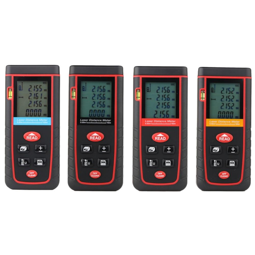 LCD Digital Laser Distance Meter 40m 60m 80m 100m Rangefinder Laser Tape Build Measure Device Ruler Test Tools Range Finder  цены