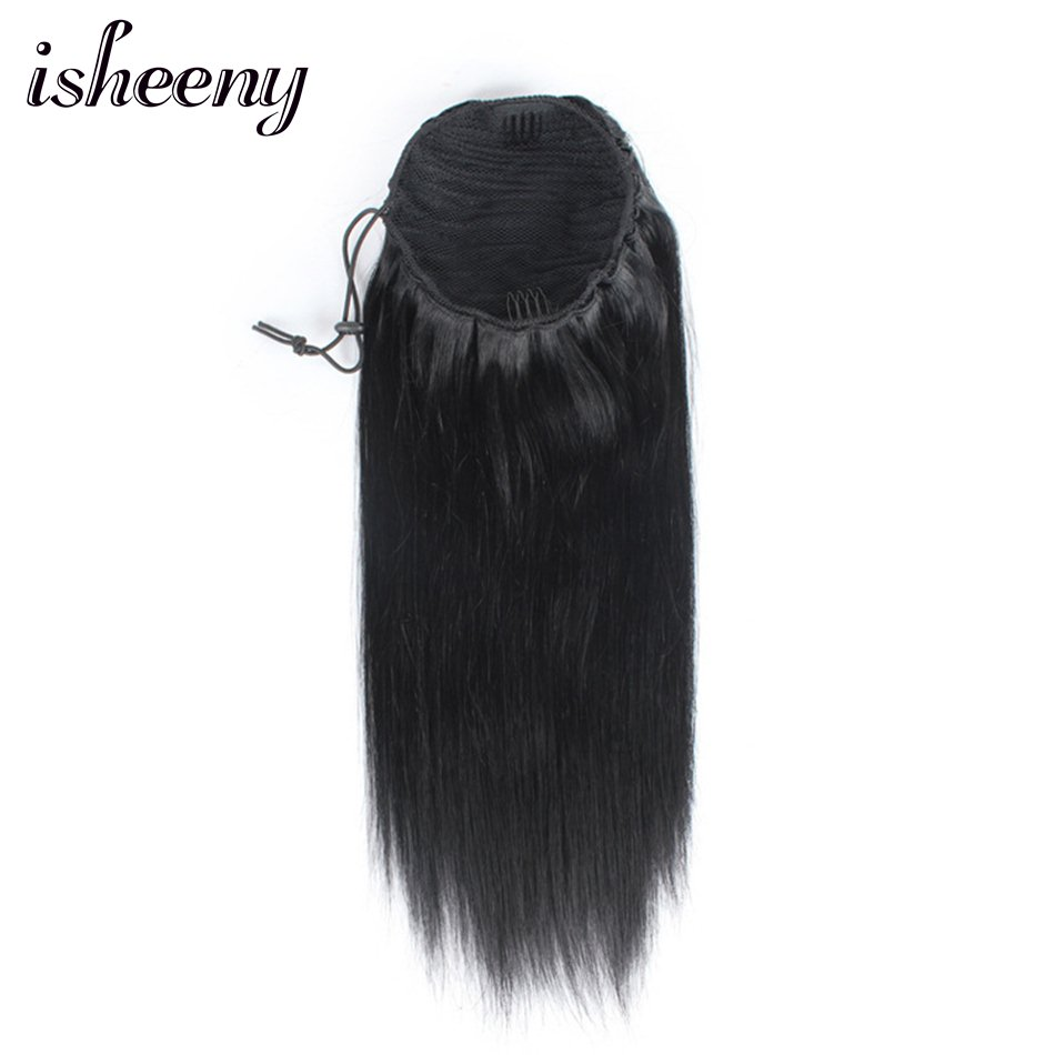 "100g Human Hair Pony Tail 10""-20"" Clip In Hairstyle Straight Remy Drawstring Ponytail Natural Color Standard Shipping(China)"