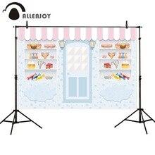 Allenjoy fotografia fundos loja de doces sorvete pequeno bebê 1st aniversário photobooth photo studio fotográfico pano de fundo