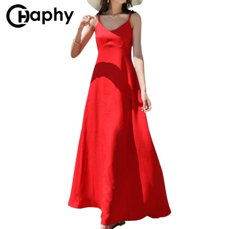 Spaghetti Strap Chiffon Dress 2018 Bohemia V-Neck Backless Summer Dress Sexy Strap Beach Dress Women Pleated Maxi Dresses