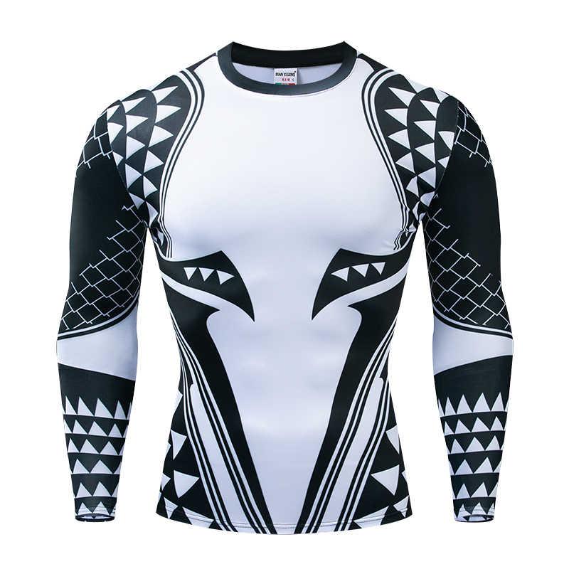 Aquaman сжатия рубашка человек 3D печатных футболки для мужчин 2019 новые комиксы косплэй костюм топы с длинными рукавами для фитнес ткань