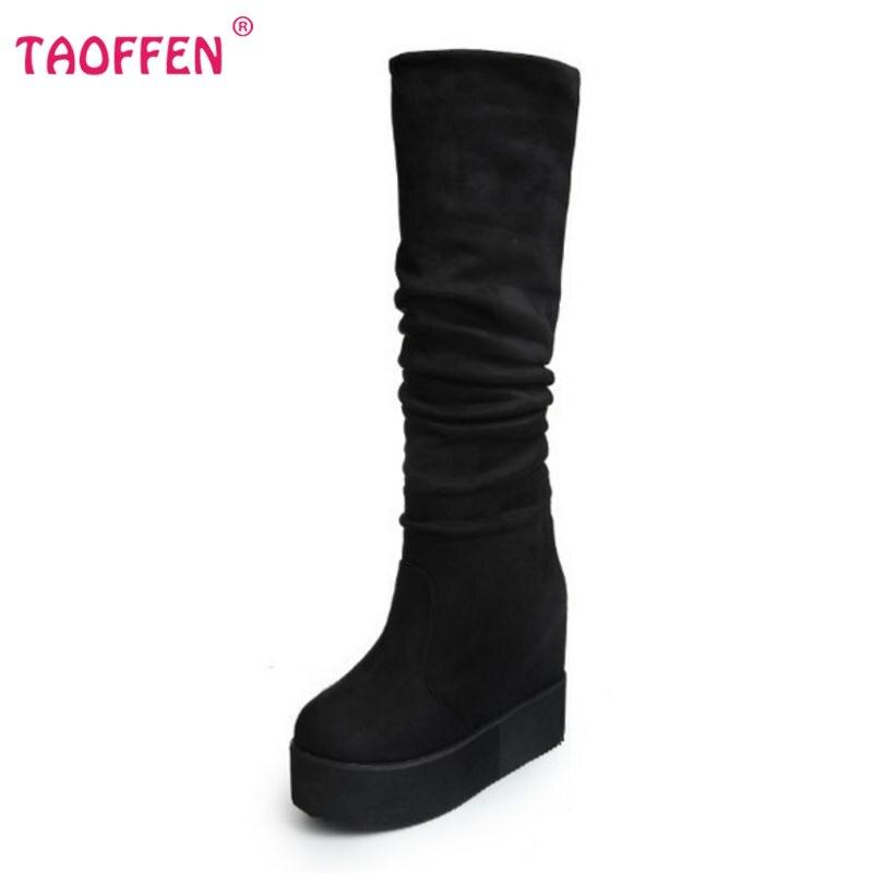 Kadın Şövalye Çizmeler Iki Stil Bayan İnce Süet Uyluk Yüksek çizmeler Diz Çizmeler Üzerinde Seksi Moda Platformlar Ayakkabı Kadın Boyutu 35-39
