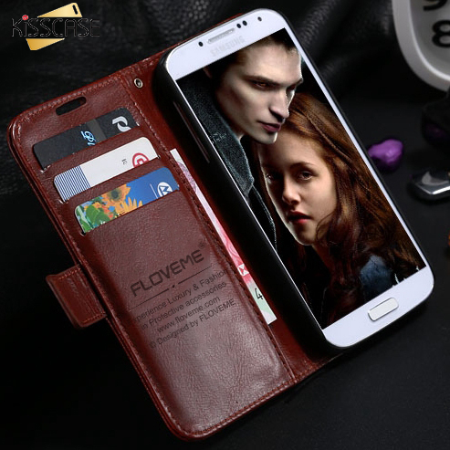 Kisscase s4 s4 mini retro crazy horse leather flip case para samsung galaxy s4 i