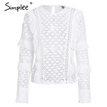 Simplee Ruffle lace blouse shirt women Hollow out floral white blouse female tops Elegant fashion chiffon blouse autumn 2017