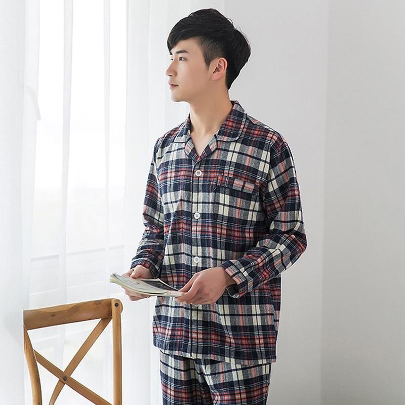 100% Cotton Autumn Winter Pajamas Sets Mens Sexy Plaid Casual Sleepwear For Male Pyjamas Pijama Hombre Plus Size Mens Pajamas