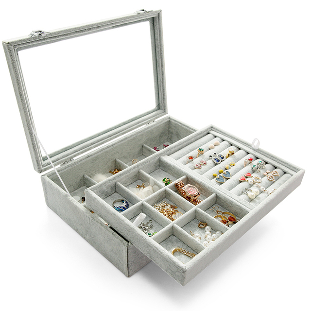 ANFEI Jewelry Display Velvet Gray Carrying Case with Glass Cover Jewelry Ring Display Box 4