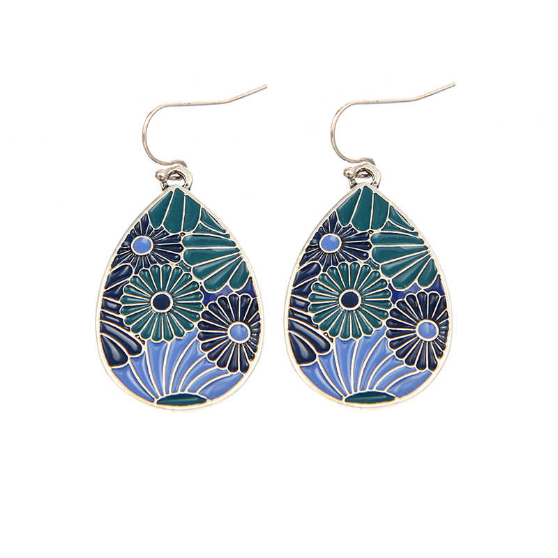 Enamel Flower Water Drop Earrings For Women Silver Color Alloy Ethnic Female Dangle Hanging Earring Fashion Ear Jewelry Brincos