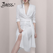 INDRESSME 2019 New Plunge V Neck Long Sleeves Sashes Slit Sexy Party Dress White Button Closure Women Fashion slit print long flowing wrap plunge dress