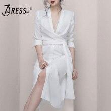цены на INDRESSME 2019 New Plunge V Neck Long Sleeves Sashes Slit Sexy Party Dress White Button Closure Women Fashion  в интернет-магазинах