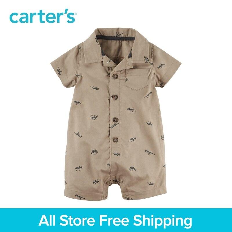 1pcs handsome dinosaur print Cotton Polo Romper Carter's baby boy Summer bodysuits clothing 118H011 baby dinosaur romper