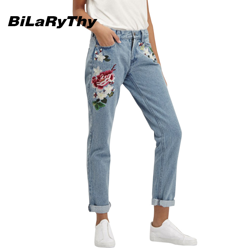 BiLaRyThy Fashion Vintage Women Ladies Floral Embroidery Loose Straight Jeans Female Denim Trousers Casual Pants 2017 spring new women sweet floral embroidery pastoralism denim jeans pockets ankle length pants ladies casual trouse top118