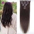 #2 el brown Más Oscuro clip en extensiones de cabello remy Brasileña del cabello humano 16-22 pulgadas 7 unids conjunto humano clip en extensiones de cabello para las mujeres