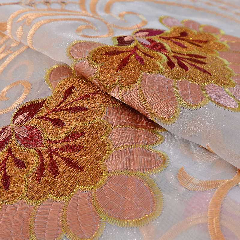 Yellow Luxury Geometric Embroidered Tulle Curtains For living Room Bedroom Curtains Window Treatment Drapes Home Decor in Curtains from Home Garden