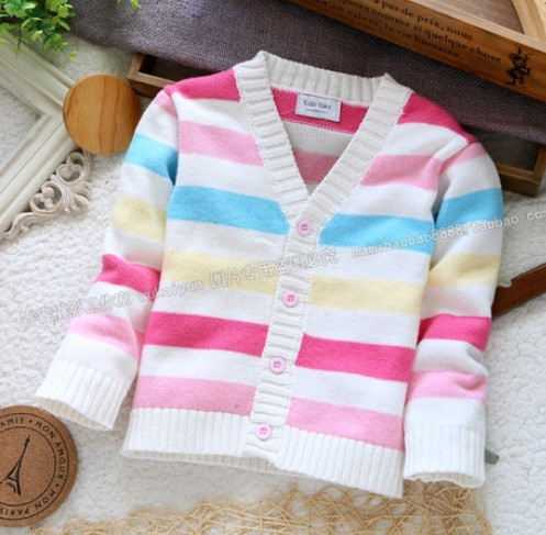 2014 New Style 100% cotton knitted sweater top spring&autumn cardigan fashion all-match small clothing for baby girl&baby boy