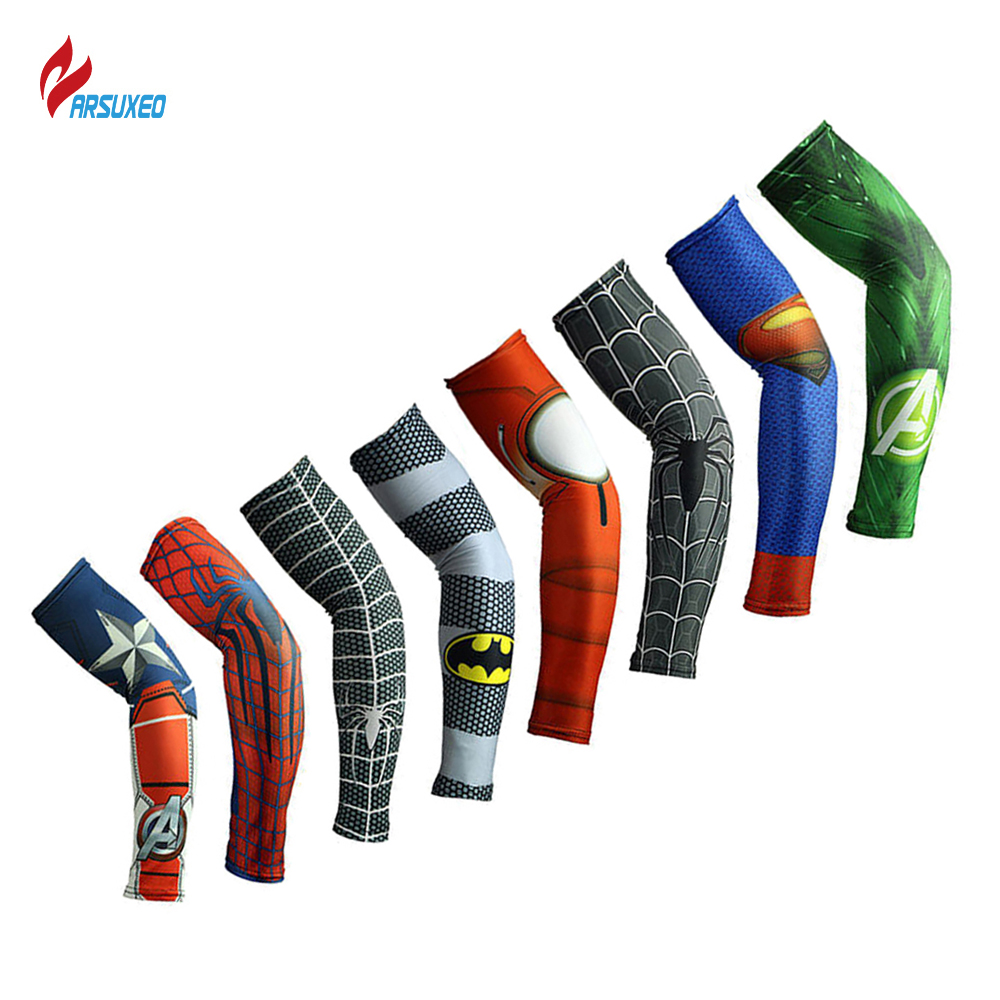 ARSUXEO Arm Sleeves Camping Cycling Sports Printed Armwarmer MTB Bike Bicycle Sleeves UV Protection Sleeves Manguito Ciclismo arsuxeo luminous reflective uv protection arm sleeves elbow support 2pcs