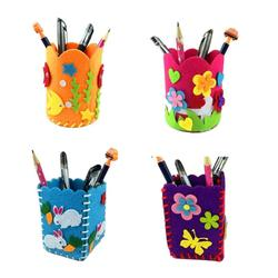 Children DIY Pen Holder Cute Handmade Craft Polyester Cloth Baby Toys Pencil Stationery Holder Office Desk Organizer Accessories