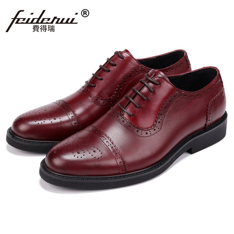 New British Style Man Semi Brogue Wedding Shoes Genuine Leather Carved Oxfords Round Toe Platform Men's Formal Dress Flats JS112 british designer handmade genuine leather men s oxfords round toe man semi brogue flats formal dress wedding party shoes hqs101