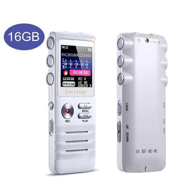 Escytegr 16 gb شاشة ملونة صوت مسجل المنشط 1536 kbps تسجيل مسجل صوت رقمي mp3 مشغل موسيقى الدكتافون