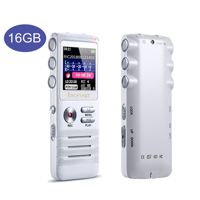 Escytegr 16GB Colorful Screen Voice Activated Recorder 1536KBPS Recording Digital Voice Recorder MP3 Music Player Dictaphone