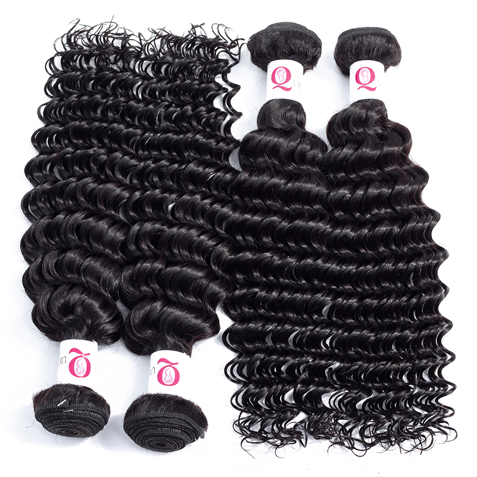 Queena 8A Peruvian Deep Wave 4 Bundles Deal Natural Black Color Deep Curly 100% Human Hair Weave Bundles Remy Hair Extensions