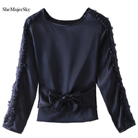 SheMujerSky Blouse For Women Top Lace Patch Blue Elegant Bowknot Shirts Long Sleeve Blusa Womens Blouse