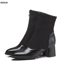 CDAXILAN new arrivals boots women square heels mid-calf motorcycle ladies middle short for summer autumn