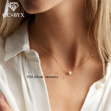 CC Pure Silver 925 Necklaces Pendants For Women Trendy Jewelry Round Freshwater Pearls Necklace Accessories Colar CCN304(China)