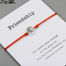 Pipitree, древо жизни, браслеты с подвесками для женщин, мужчин, детей, удача, красная струна, дружба, браслеты с пожеланиями, ювелирные изделия, подарок, регулируемый