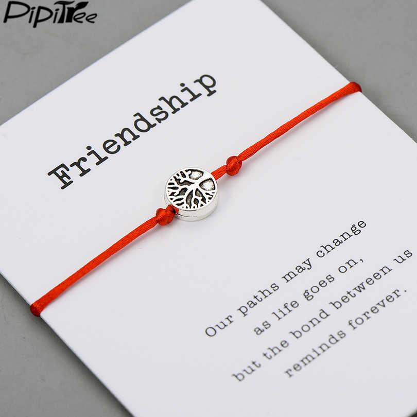 Pipitree Life Tree uroku bransoletki dla kobiet mężczyzn dzieci szczęście czerwony sznurek przyjaźń życzenia bransoletki biżuteria prezent regulowany