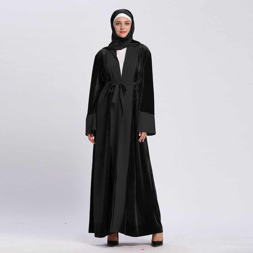 621dbcc60450 ... 2019 Abaya Robe Dubai Islam Kaftan Muslim Velvet Kimono Cardigan Hijab Dress  Ramadan Abayas For Women ...