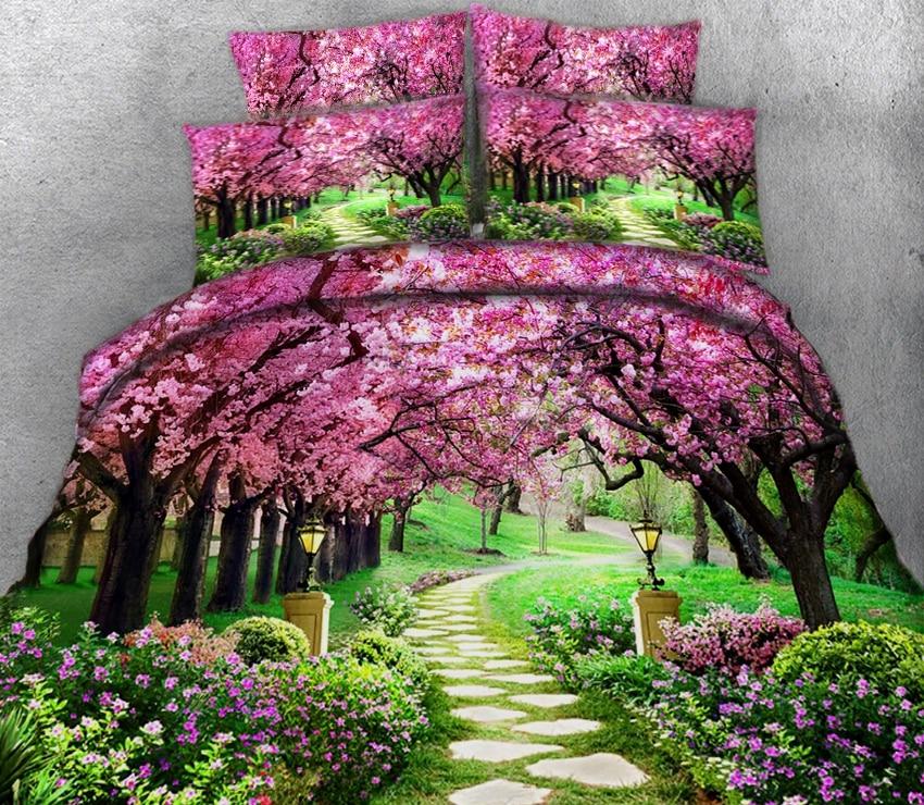 modern 3D Bedding set twin queen California king duvet bed cover Sheet Quilt Cover Pillowcase Custom size Bed decoration flower - 2
