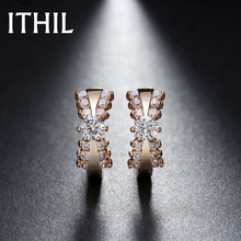 ITHIL New Gold-color Cubic Zirconia Aros Earings Fashion jewelry earrings for women oorbellen orecchini aretes brincos Female C