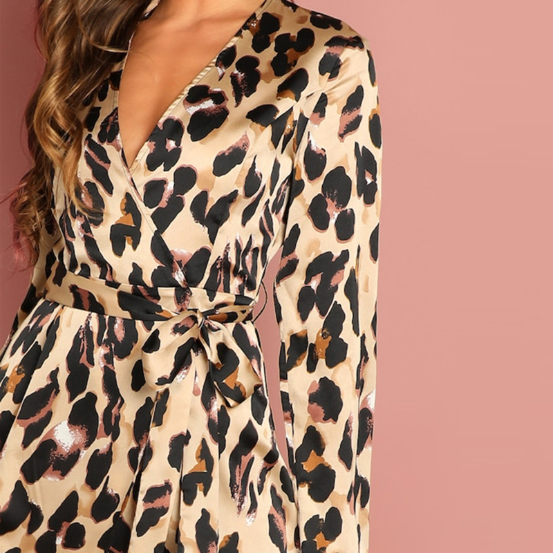 COLROVIE Deep V-Neck Surplice Wrap Satin Leopard Vintage Dress 2018 Long Sleeve Sexy Party Dress Ladies Fashion Long Dress 12