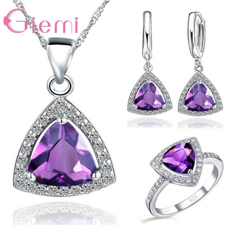 Exquisite 925 Sterling Silber Dreieck Shiny Zirkonia Stein Anhänger Halskette Ohrringe Ringe Frauen Schmuck Sets