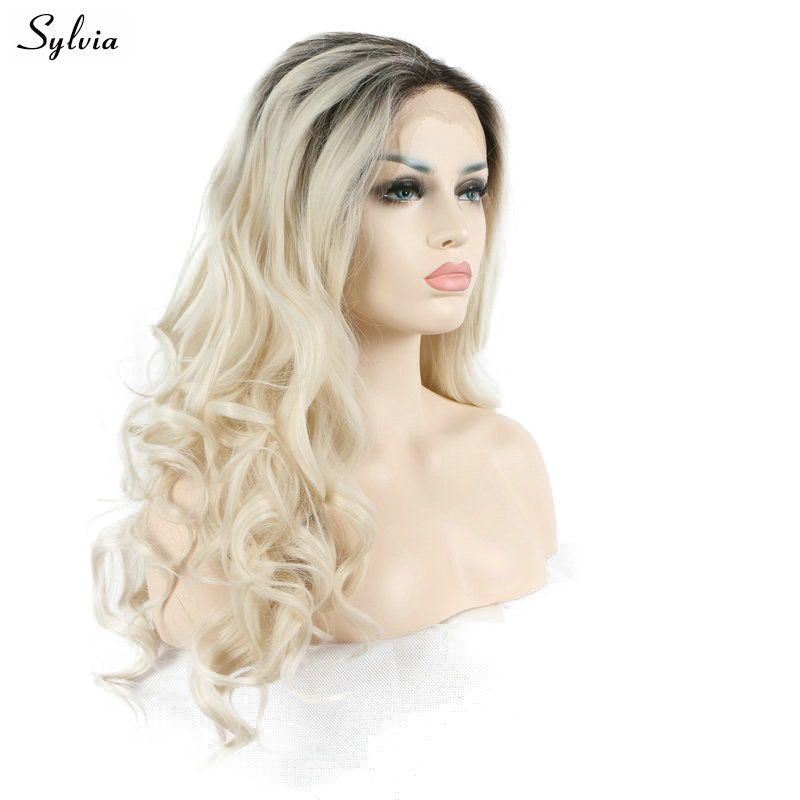 Sylvia Natural Hairline Blonde Ombre Short Dark Roots Bouncy Curly Long 2 Tone Hair Heat Resistant Soft Synthetic Lace Front Wig
