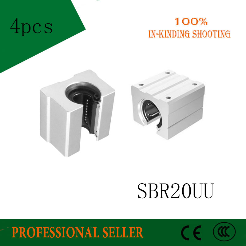 4 pcs SBR20UU SBR20 Linear Bearing 20mm Open Linear Bearing Slide block 20mm CNC parts linear slide for 20mm linear guide