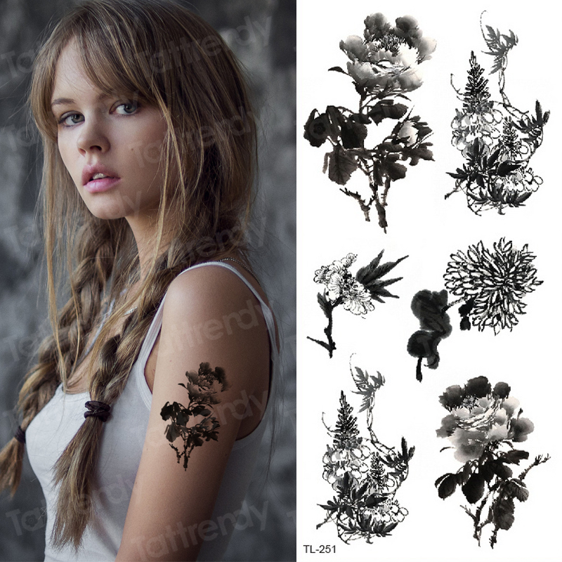 Water Transfer Tattoo Small Fake Tatoo Waterproof Rose Butterfly Flower Tattoo Body Stickers Arm Sleeve Wrist Tattoo For Girls