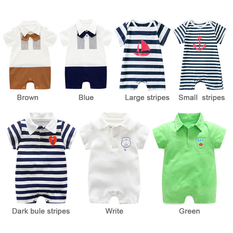 4172a7f23 New baby Clothes short sleeved striped baby rompers Summer cotton jumpsuits onesies  overalls for newborns baby boy romper-in Rompers from Mother & Kids on ...