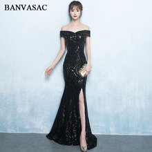 BANVASAC 2018 Boat Neck Elegant Split Sequined Mermaid Long Evening Dresses Party Short Sleeve Backless Prom Gowns