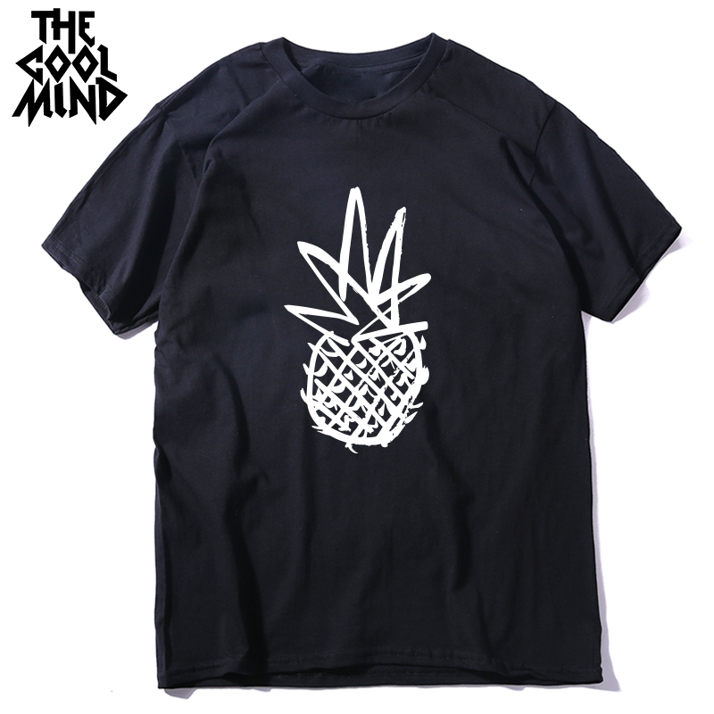 COOLMIND 100% cotton pineapple print men   T     shirt   casual short sleeve men tshirt cool   t  -  shirt   male top tee   shirts