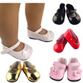 American Girl Doll Shoes Fits 18'' Doll Clothes 15 Colors Patent Leather Shoes With Bow Doll Accessories girls gift fashion