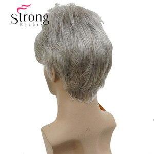 Image 4 - StrongBeauty קצר כסף אפור פאה Mens קצר סינטטי שיער פאות צבע אפשרויות