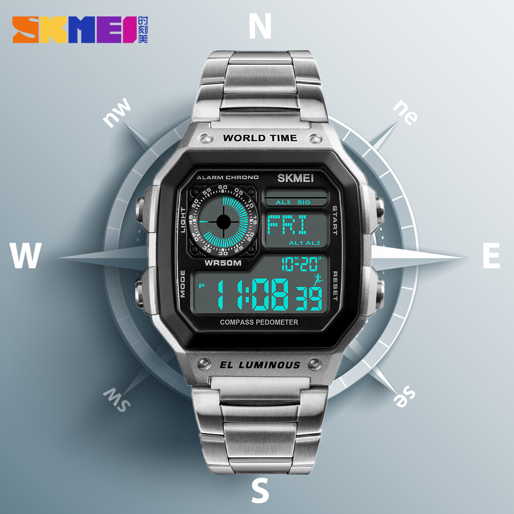 <font><b>SKMEI</b></font> Compass Digital Sports Watches Pedometer Mens Watches Top Brand Luxury Countdown Calories Waterproof Wrist Watch Clock Men image