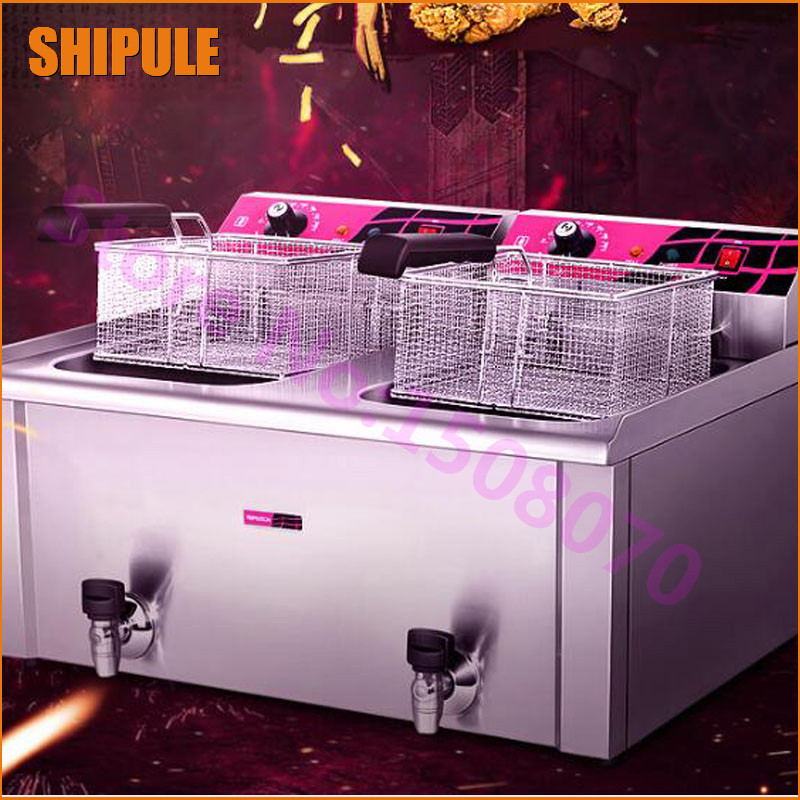 SHIPULE High Efficiency 30L 2 Tank Stainless Steel Commercial Deep Fryer Frying Machine Electric Chicken Fryer Machine shipule fast food restaurant 30l commercial electric chicken deep fryer commercial potato chips deep fryer frying machine