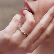 factory wholesale thin band gold filled three cz three stone delicate minimalist dainty girl women simple cz thin ring
