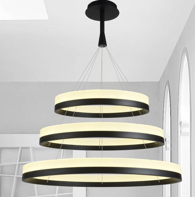 New Led Acrylic Chandelier Fixture Black Remote Control Pendant Lamp Modern Living Room Bedroom Restaurant Hanging